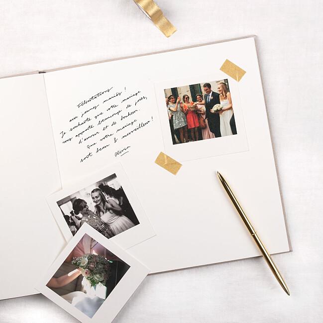 Livre d'or mariage personnalisé beige naturel