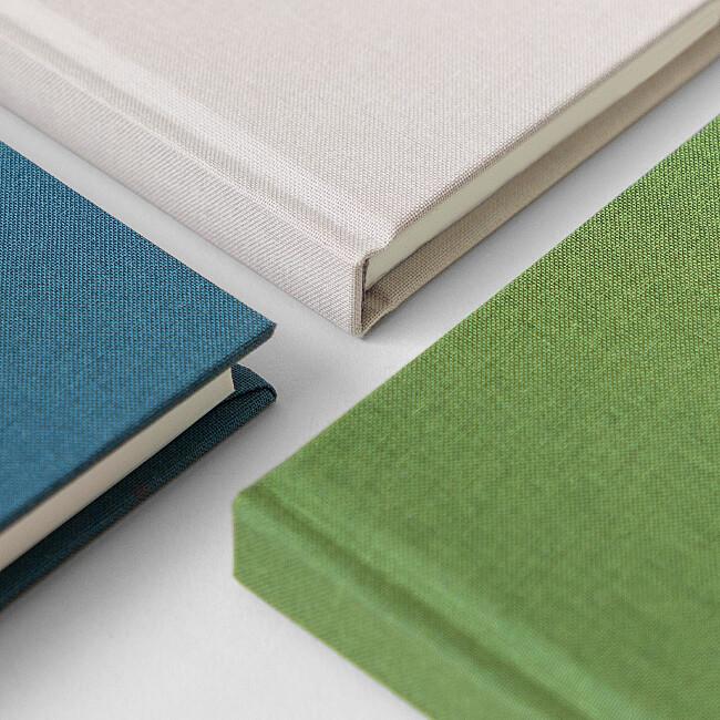 Trio de carnets vert bleu et beige