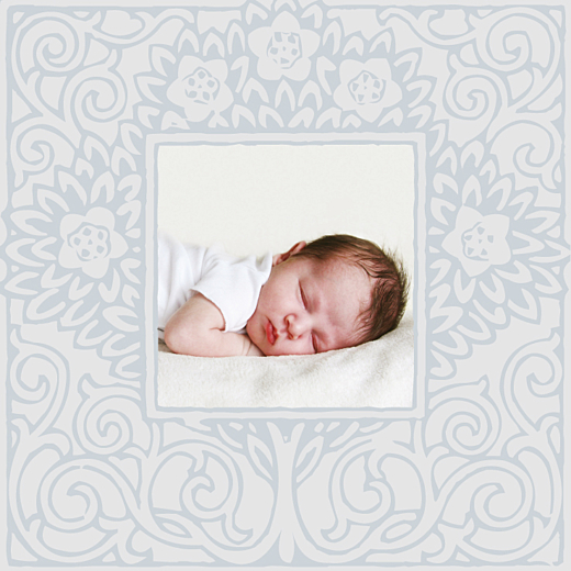 Faire-part de naissance Cadre floral garçon gris