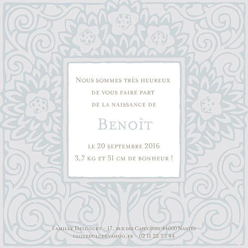 Faire-part de naissance Cadre floral garçon gris - Page 2