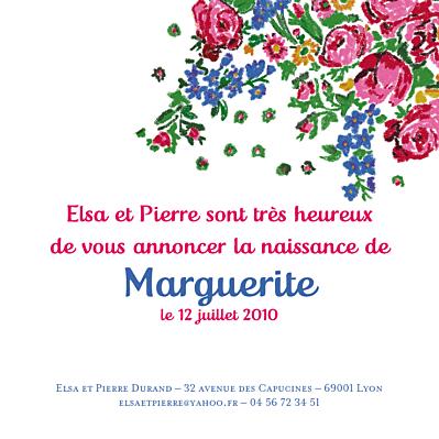 Faire-part de naissance Provence rose finition