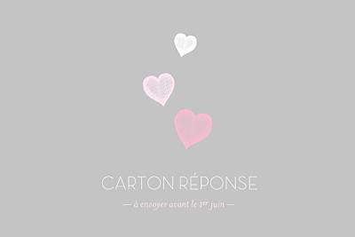 Carton réponse mariage Coeurs gris clair et rose finition