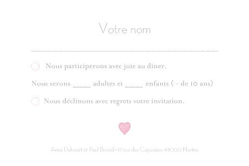 Carton réponse mariage Coeurs gris clair et rose - Page 2