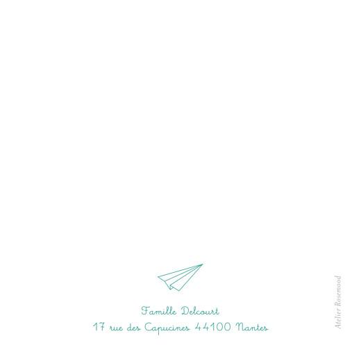 Carte de remerciement Petit origami avion vert - Page 2