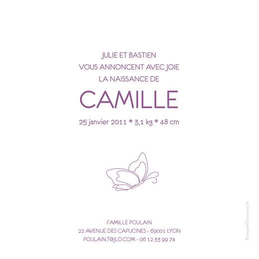 Faire-part de naissance Origami papillon violet - Page 2