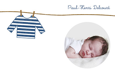Carte de remerciement Petite marinière bleu finition