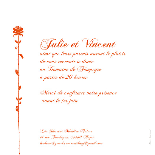 Faire-part de mariage Fleur de lotus orange - Page 2