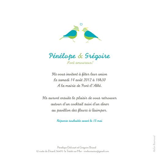 Faire-part de mariage Couple-oiseaux-bleu - Page 2