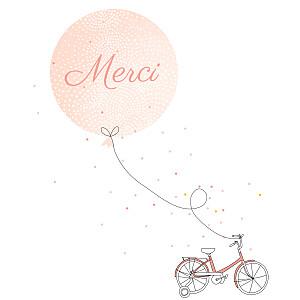 Carte de remerciement rouge merci à bicyclette photo corail
