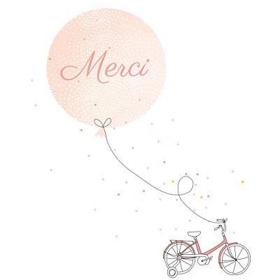 Carte de remerciement Merci à bicyclette photo corail finition