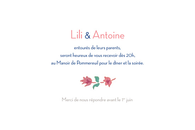 Carton d'invitation mariage Floral rose finition
