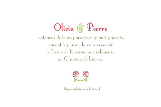 Carton d'invitation mariage Duo de roses rose - Page 1