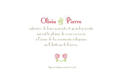 Carton d'invitation mariage Duo de roses rose finition