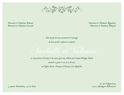Faire-part de mariage Charme vert finition