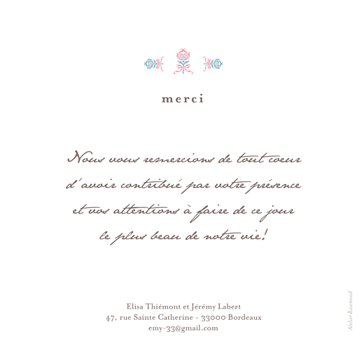 Carte de remerciement mariage Sweet blanc - Page 2