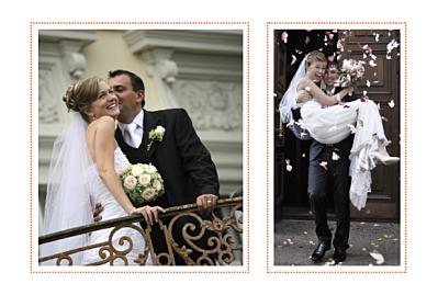 Carte de remerciement mariage Initiales 2 photos orange finition