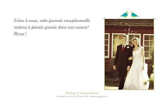 Carte de remerciement mariage Couple d'oiseaux vert - Page 1