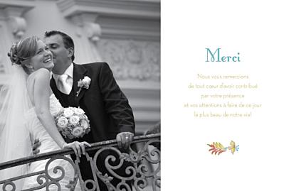 Carte de remerciement mariage Floral vert finition
