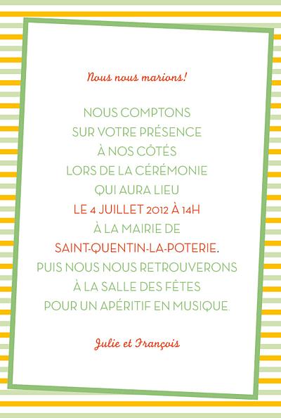 Carton d'invitation mariage Festivité vert finition