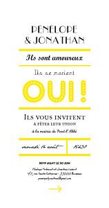 Faire-part de mariage design un grand oui !  jaune