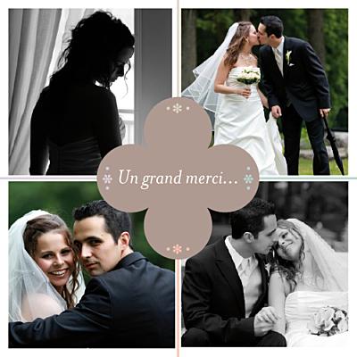 Carte de remerciement mariage Chance taupe finition