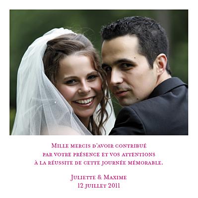Carte de remerciement mariage Souvenir unique photo finition