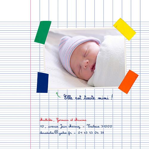 Faire-part de naissance Cahier d'écolier 2 photos blanc