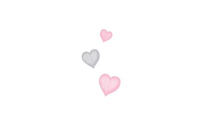 Carton d'invitation mariage Coeurs gris pâle finition