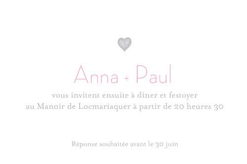 Carton d'invitation mariage Coeurs gris pâle - Page 2