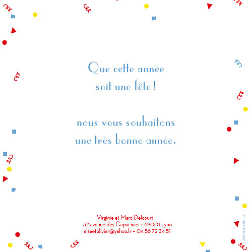Carte de voeux Cotillons rouge