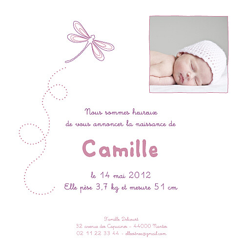 Faire-part de naissance Libellule prune - Page 1