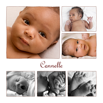 Faire-part de naissance 6 photos chocolat finition