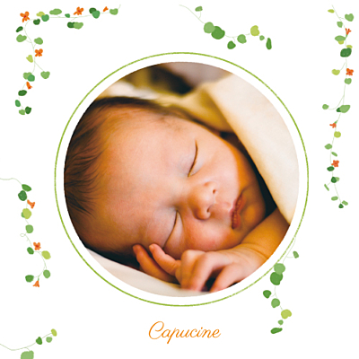 Faire-part de naissance Capucine orange finition