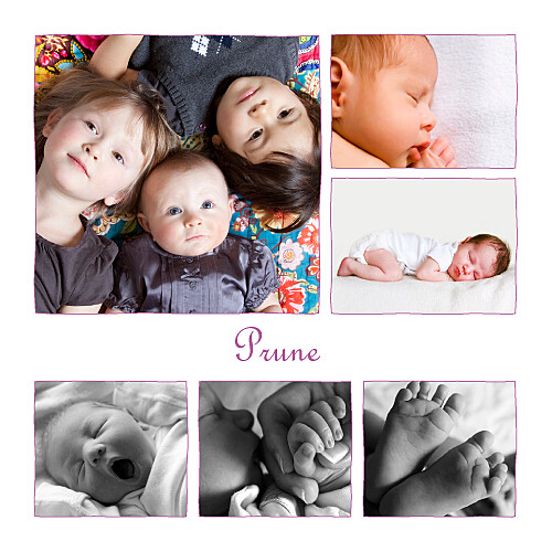 Faire-part de naissance 6 photos 4 pages prune - Page 1