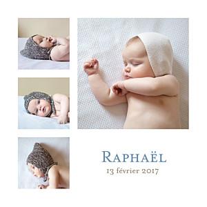 Faire-part de naissance tradition classique 6 photos blanc