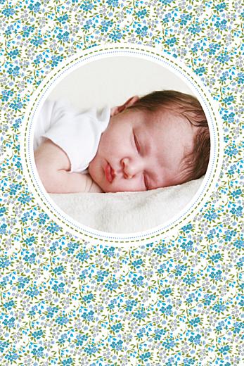 Carte de remerciement Merci liberty portrait bleu