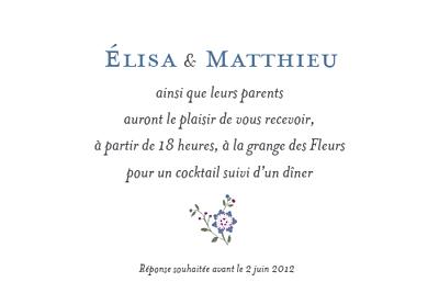 Carton d'invitation mariage Floraison finition