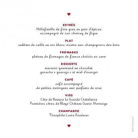 Menu de mariage Amour rouge - Page 2