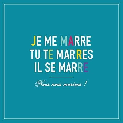 Faire-part de mariage Marrons-nous céladon finition
