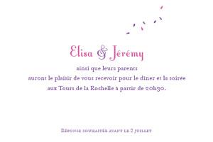 Carton d'invitation mariage Bouquet lilas
