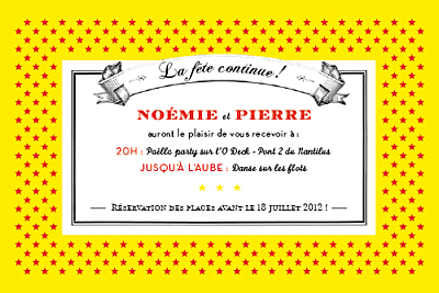 Carton d'invitation mariage Festival rouge finition