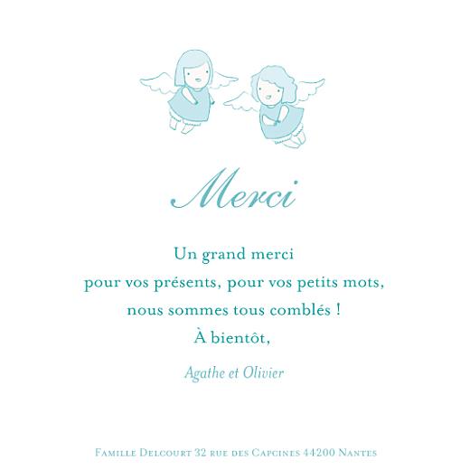 Carte de remerciement Petits anges merci bleu - Page 1