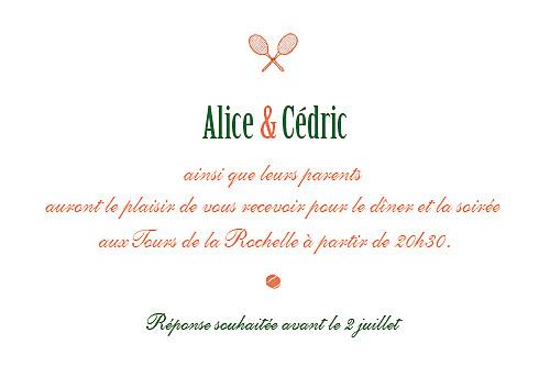 Carton d'invitation mariage Tennis orange - Page 2