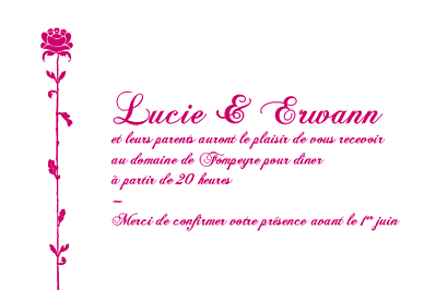 Carton d'invitation mariage Fleur de lotus rose finition
