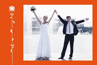 Carte de remerciement mariage Fleur de lotus orange finition