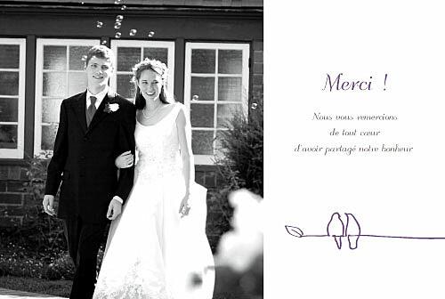 Carte de remerciement mariage Duo d'oiseaux prune
