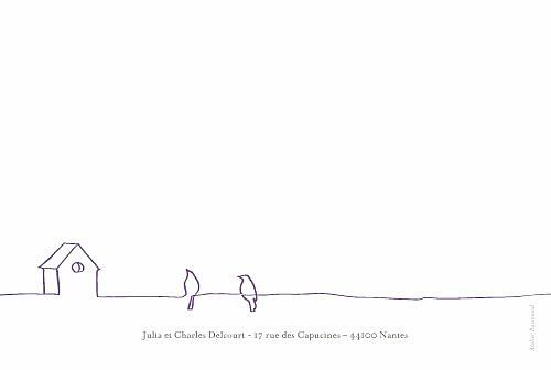 Carte de remerciement mariage Duo d'oiseaux prune - Page 2