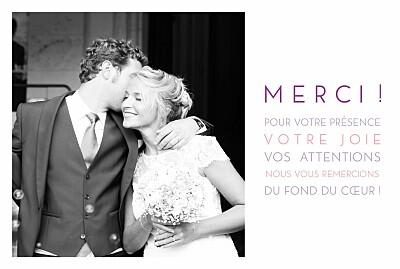 Carte de remerciement mariage Justifié 1 photo blanc finition