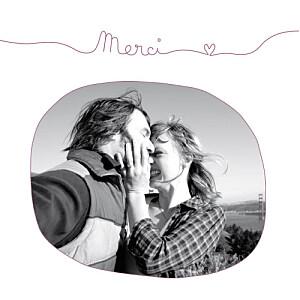 Carte de remerciement mariage Tendresse (carré) violet