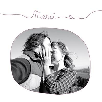 Carte de remerciement mariage Tendresse (carré) violet finition